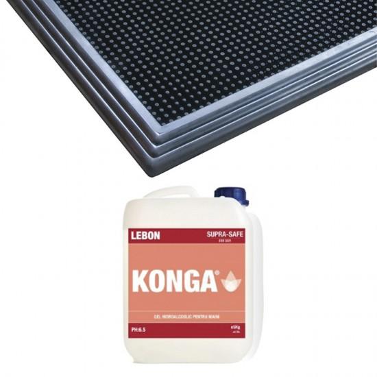 Pachet Covor dezinfectant Sani-Trax si Solutie hidroalcoolica Konga